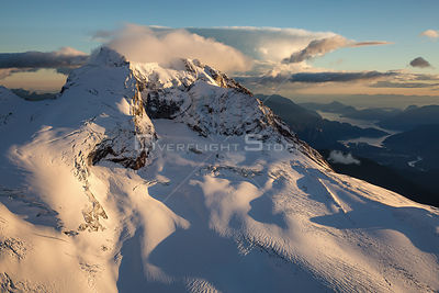 Mt Garibaldi covered in fresh snow with Squamish in the Background.