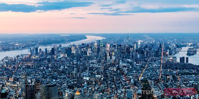 Panoramic aerial of Midtown Manhattan at sunset, New York, USA