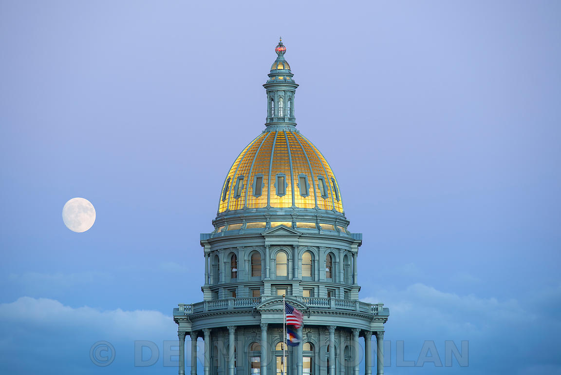 Colorado State Capitol Dome - Moon rising
