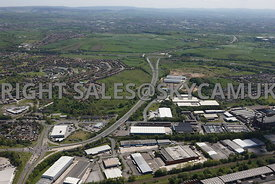 Rochdale high level aerial photograph over looking the A627 from the junction of Edinburgh Way and Sandbrook Way looking towa...