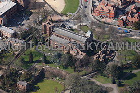 Chester aerial view of the Parish church of St John The Baptist and St John ruins