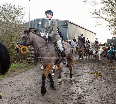 Izzy Wyatt leaving the meet. The Cottesmore Hunt at Launde Park Farm
