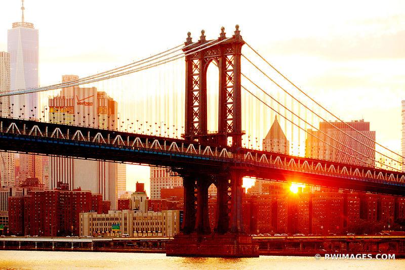 new york bridge sunset cityscape modern art print photograph large