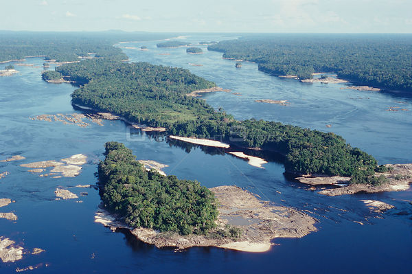 Aerial view of Amazonia, Brazil - Upper Rio Negro at Equator.