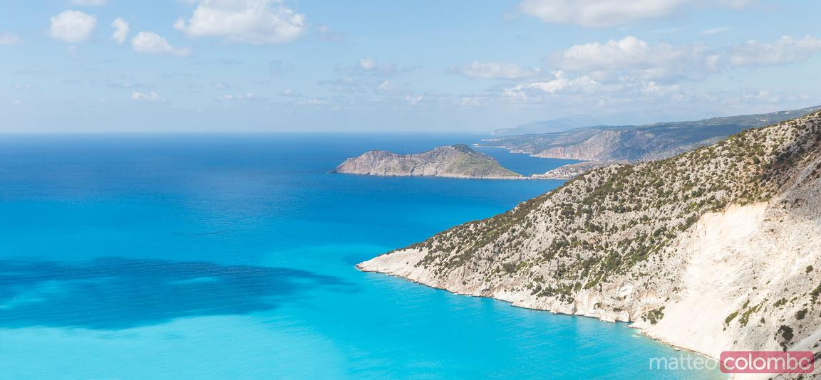 Coastline and blue mediterranean sea. Kefalonia. Greek Islands, Greece