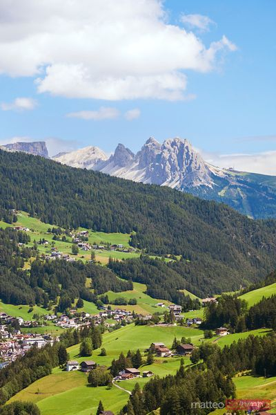VAl Gardena with Odle mountains in the background