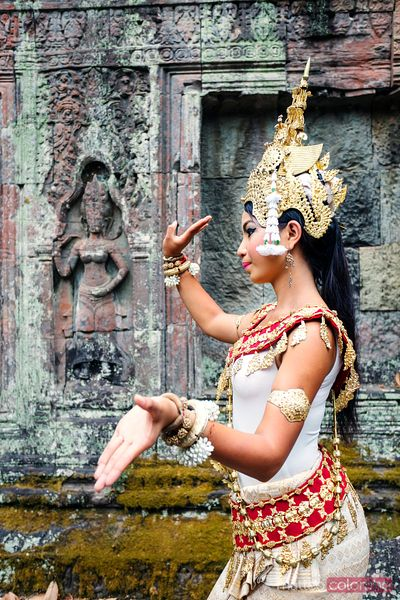 Khmer Apsara dancer performing at Angkor Wat temple, Cambodia