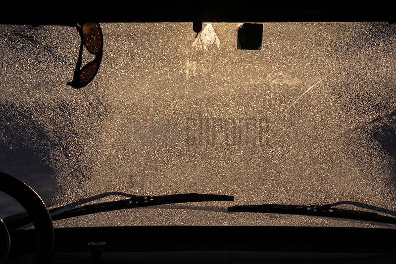 Heavy Frost on Vehicle Windshield