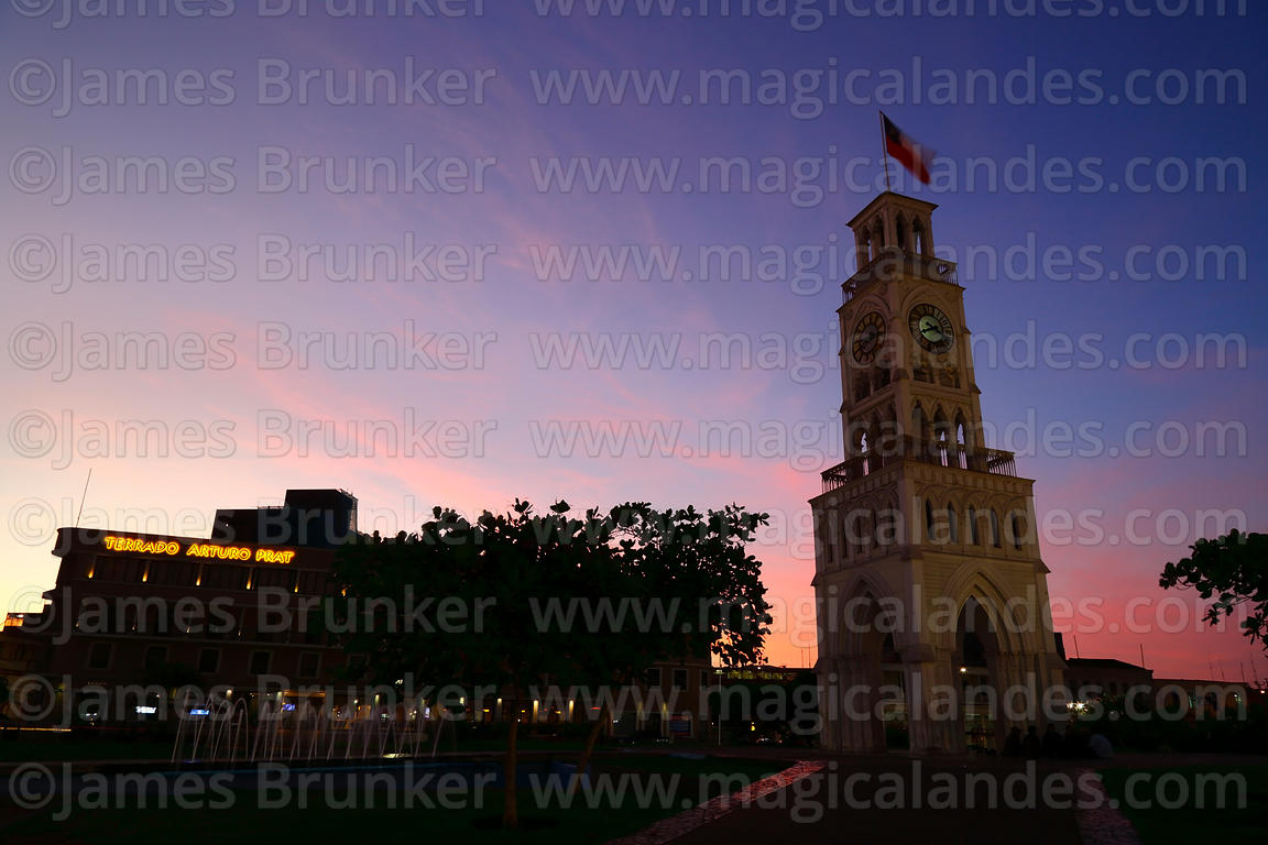 Moorish style clock tower at sunset, Plaza Prat, Iquique, Chile