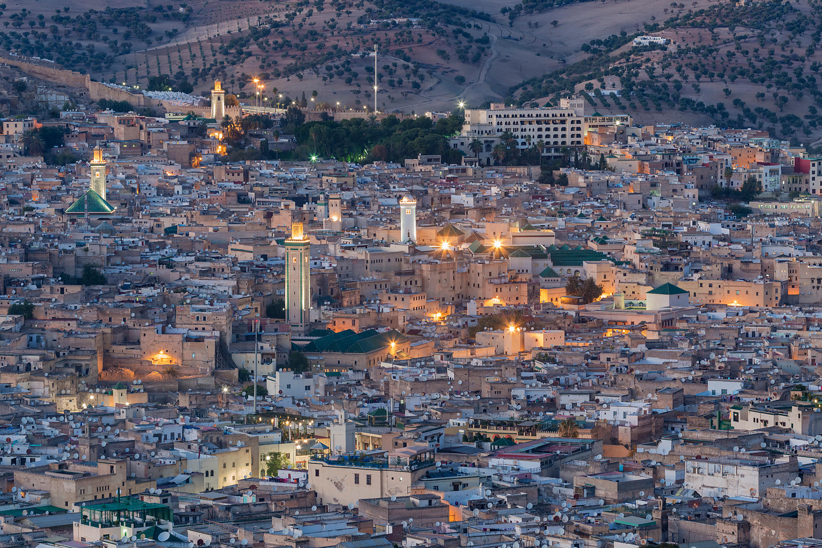 Elevated View of the Medina of Fes at Dusk