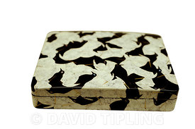 Late 1800's Japanese box decorated with interlocking crows and egrets.  crows made of black lacqueur with mother of pearl eye...