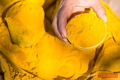 Turmeric powder for sale at local market, Myanmar