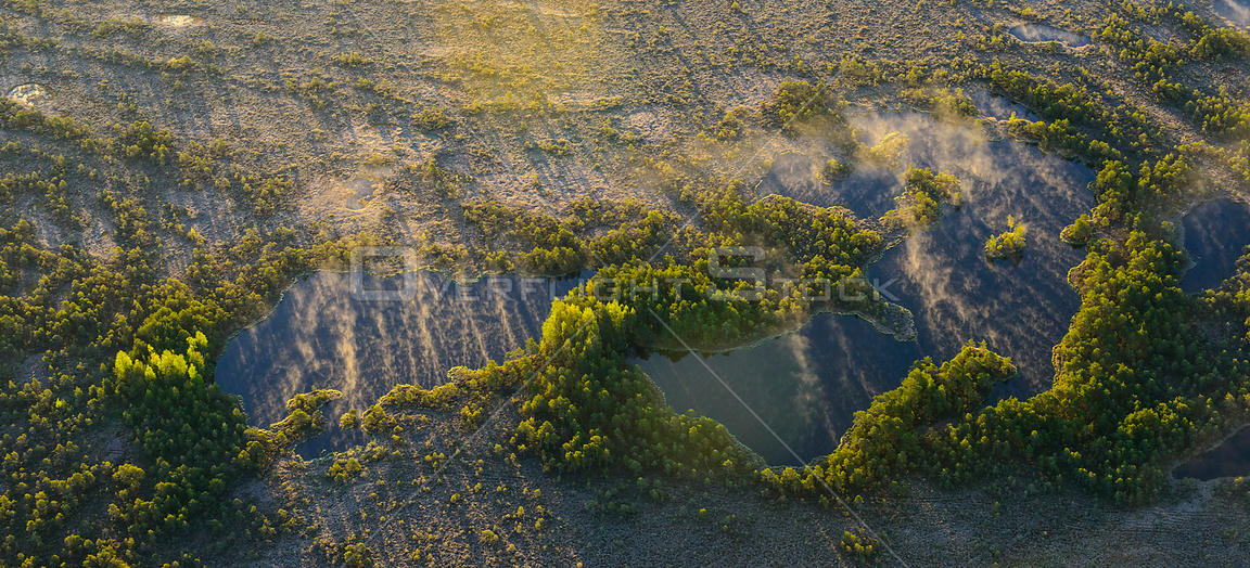 Aerial view of bog pools in the mist at sunrise, Sirtsi Nature Reserve, Ida-Virumaa, Estonia, May 2014.