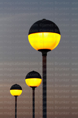 Street lamps on El Morro at sunset, Arica, Region XV, Chile