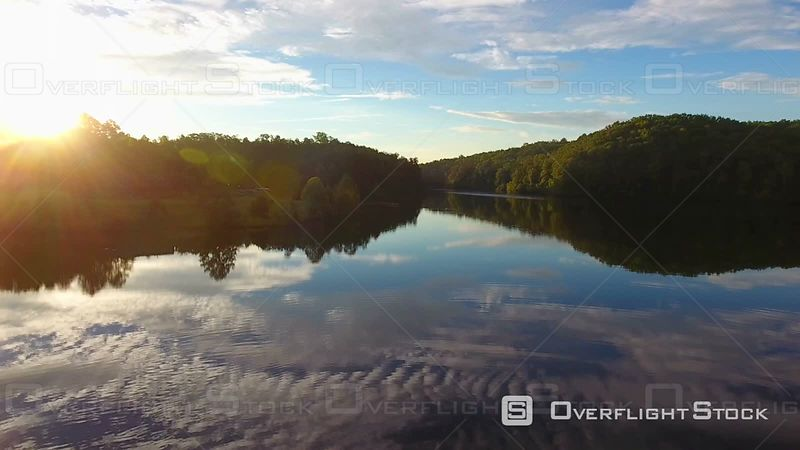 4k Aerial of Mountain Lake at Sunrise Appalachia South Carolina
