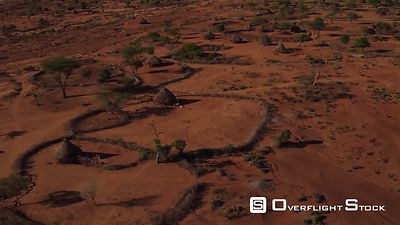 Drone Video Ethiopia. Grazing and domestic animals in arid regions