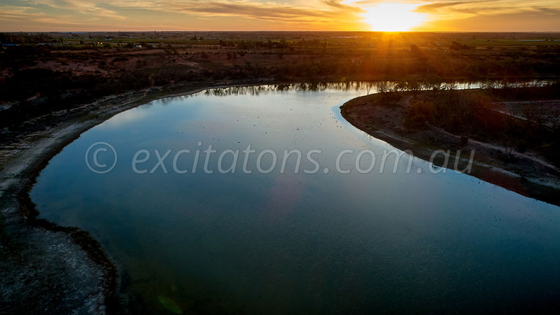 Billabong at sunset near Merbein, Victoria, Australia.
