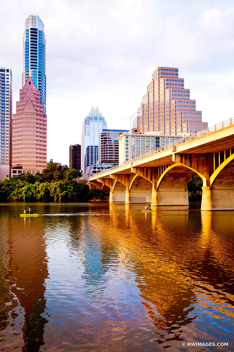 AUSTIN LAKE AND AUSTIN TEXAS SKYLINE SUNSET VERTICAL COLOR
