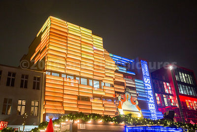 Light Panels wrapped around a building at the St Pauli Christmas Market