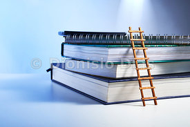 Stack of ancient books with little ladder symbolizing the search for knowledge in bluish background