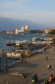 Early morning view of Santa Maria della Salute church and paved Riva Degli Schiavone from the roof terrace of Hotel Locanda V...