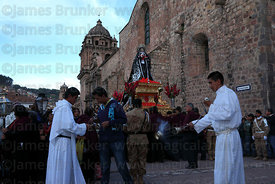 Figure of Virgen Dolorosa outside La Merced church during Good Friday procession , Cusco , Peru