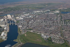 Barrow in Furness high level view of the town Lancashire