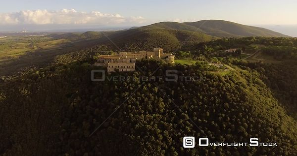 Aerial, beautiful landscape view on Populonia in Tuscany, Italy on sunset