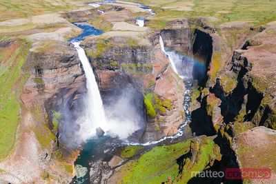 Aerial drone view of Haifoss double waterfall, Iceland