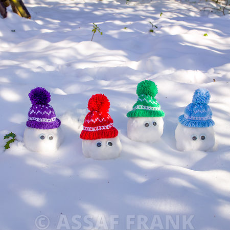 Cute little Christmas snowmen covered with snow
