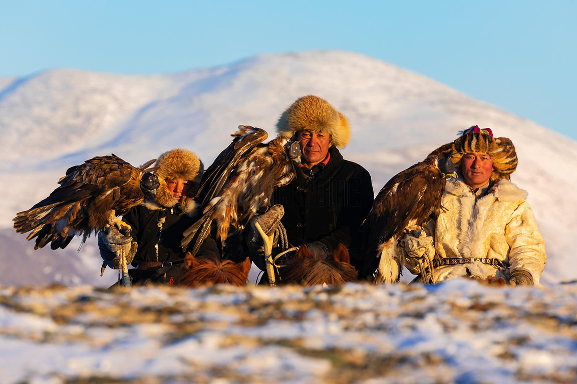 Eagle Hunters Akhgol, Bekysh & Bota at Last Light