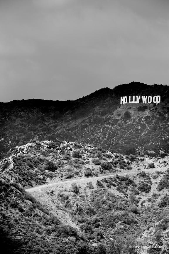HOLLYWOOD SIGN HOLLYWOOD CALIFORNIA BLACK AND WHITE VERTICAL