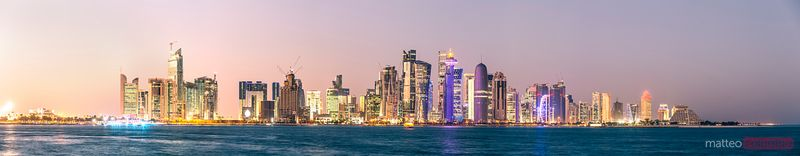 Panoramic of Doha skyline at sunset, Qatar