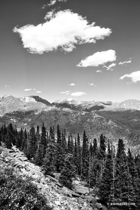 ROCKY MOUNTAIN NATIONAL PARK COLORADO BLACK AND WHITE VERTICAL
