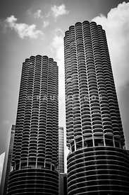 Chicago Marina City Towers in Black and White