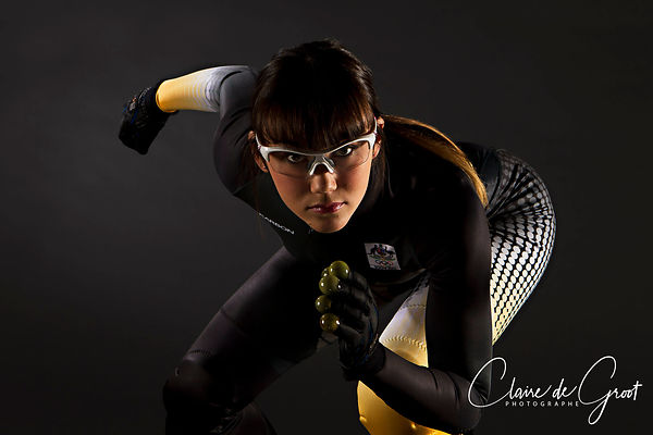 Studio Sports Portrait of Australian Olympic Short Track Speed Skater Deanna Lockett