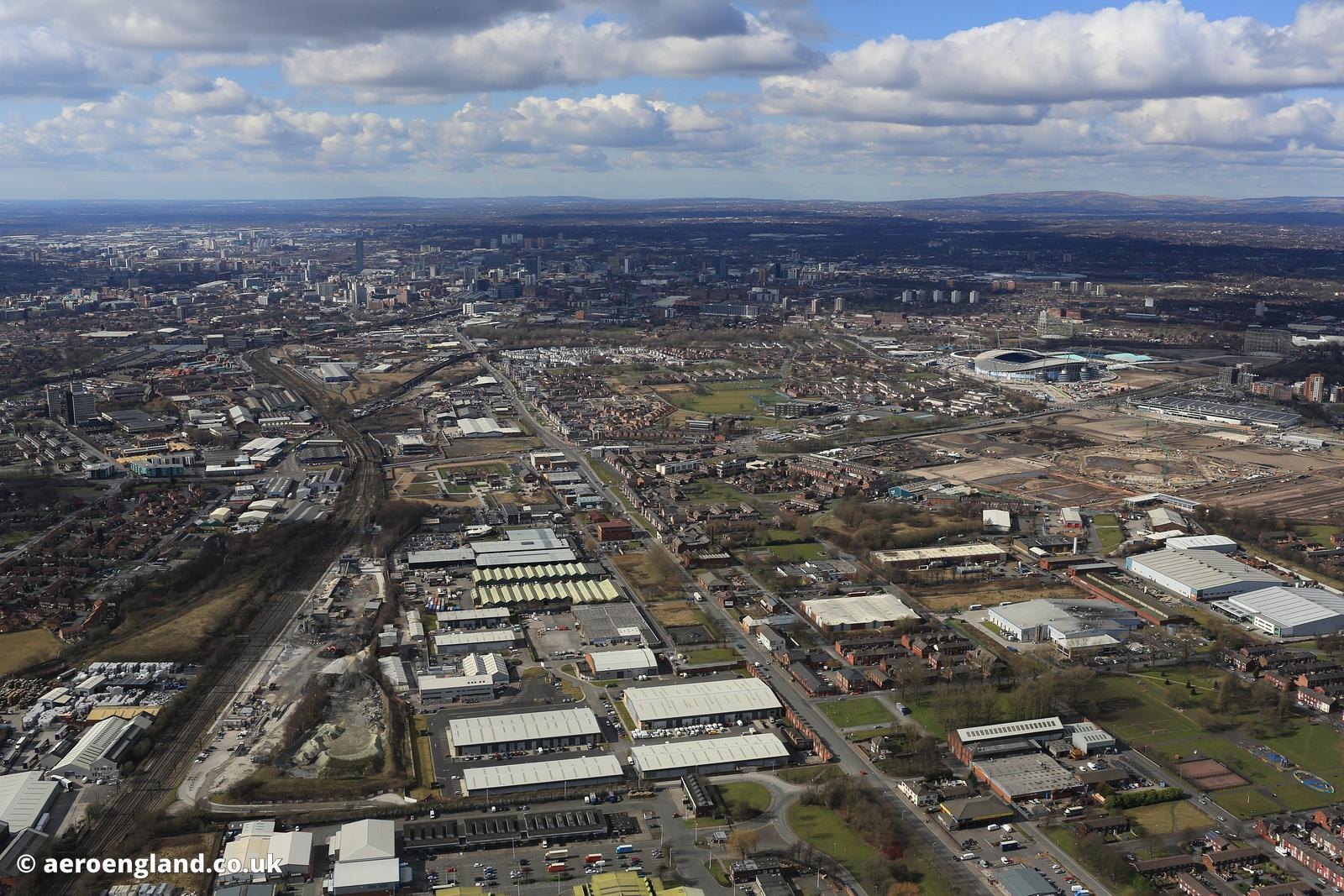 aerial photograph of Openshaw  East Manchester lookingtowards Beswick, West Gorton and the city centre   along Ashton Old Roa...
