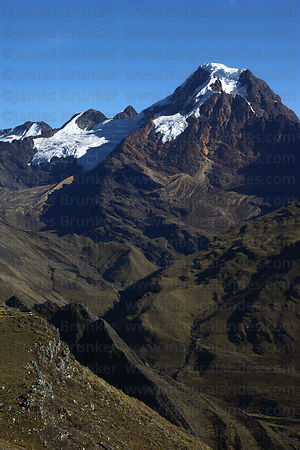 Mt Akamani , seen from near Curva on Curva to Pelechuco trek, Cordillera Apolobamba , Bolivia
