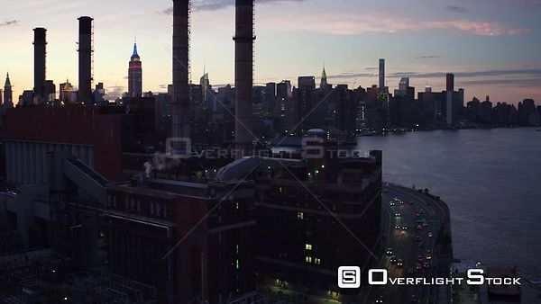 Night Drone Video Con Edison and FDR Way Manhattan NYC
