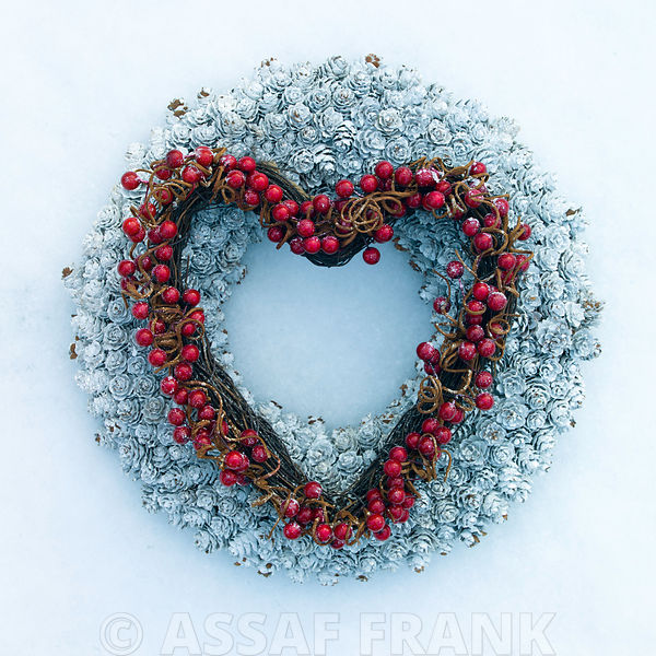 Heart shaped wreath in snow