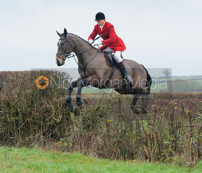 Nicholas Leeming MFH jumping a hedge behind Waterloo Lodge