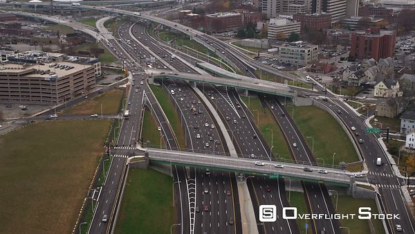 Over Interstate 95 in Providence, Rhode Island, Heading Toward Industrial Area Near Providence Harbor. Shot in November