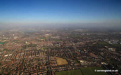 English Suburbia - an aerial view over the suburbs of Manchester around Rusholme and Levenshulme