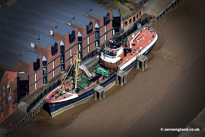 aerial photograph of the Artic Corsair museum trawler ship in Kingston upon Hull England UK