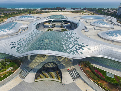 Modern futuristic buildings of a shopping mall in Sanya Shi on Hainan Island China