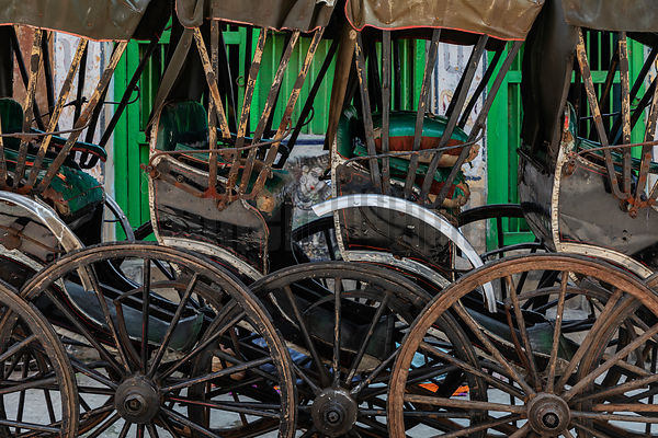 Stacked Up Rickshaws in the Kumartuli Neighborhood