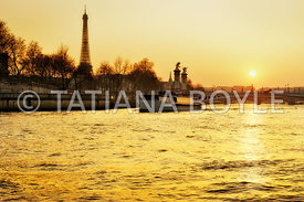 Sunset over the Seine River