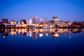 Peoria Illinois Skyline at Night