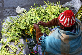 Aymara lady making ornaments out of palm leaves on Palm Sunday , La Paz , Bolivia