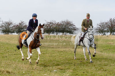 Clare Bell, Bruce McKim above Braunston. The Cottesmore Hunt at Braunston
